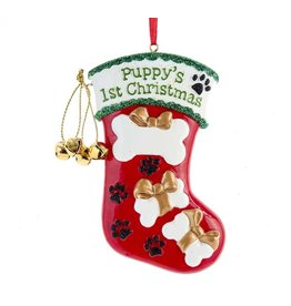 Kurt Adler Puppys 1st Christmas Stocking For Personalization