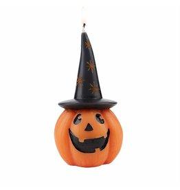 Mud Pie Halloween Pumpkin Candle Wearing Black Witch Hat