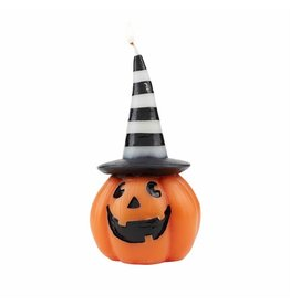 Mud Pie Halloween Pumpkin Candle Wearing Black White Striped Witch Hat
