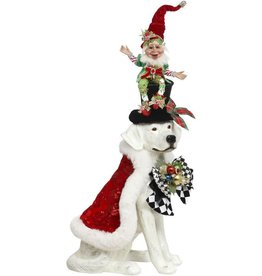 Mark Roberts Fairies Christmas Dog And Elf On Top Hat 30 Inch