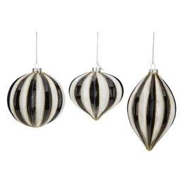 Black White Striped Gilded Ornaments Set