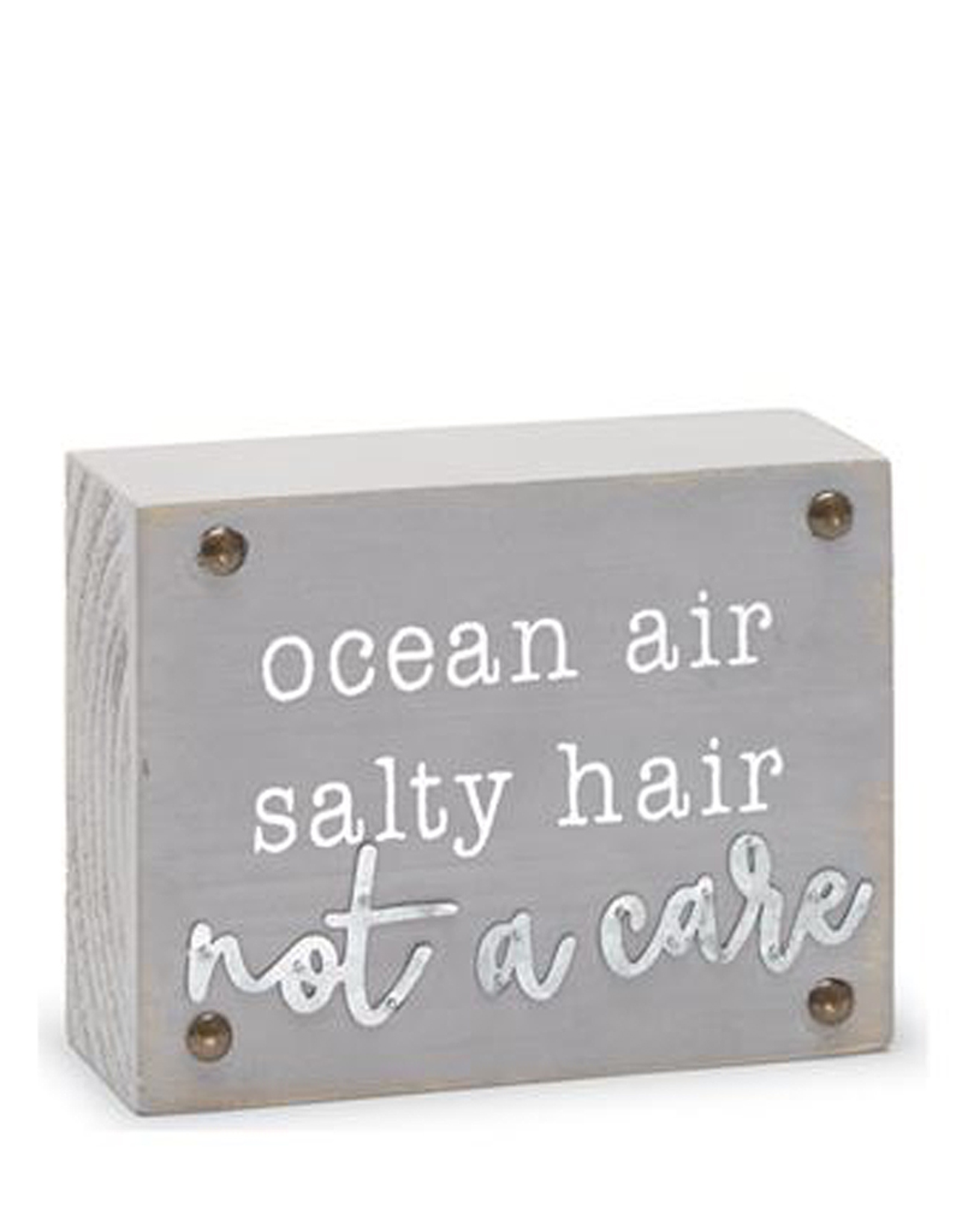 Mud Pie Beach House Sentiment Block Plaque w Ocean Air Salty Hair Not a Care