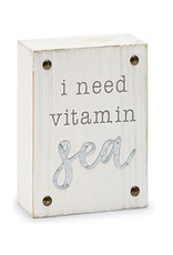 Mud Pie Beach House Sentiment Block Plaque w I Need Vitamin Sea
