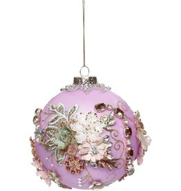 Vintage Floral Kings Jewel Ball Ornament 4 Inch TAP