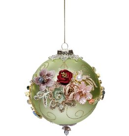 Vintage Floral Kings Jewel Ball Ornament 4 Inch GRN