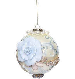 Vintage Floral Kings Jewel Ball Ornament 4 Inch IVO