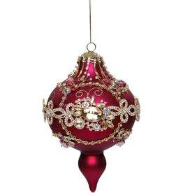 Vintage Floral Kings Jewel Ornament 7.5 Inch RED