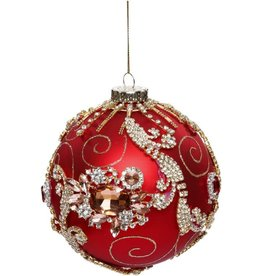 Vintage Floral Kings Jewel Ball Ornament 4 Inch RED
