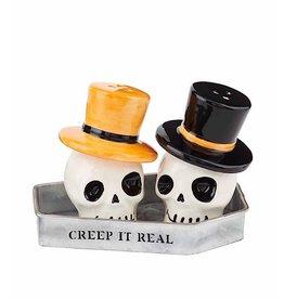 Mud Pie Halloween Creep It Real Skull Salt And Pepper Shakers Set