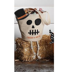 Mud Pie Halloween Skeleton Candy Bag With Creep It Real