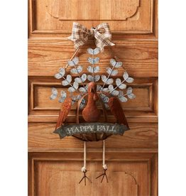 Mud Pie Turkey Door Hanger With Happy Fall Banner