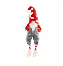Mud Pie Christmas Gnome With Dangling Legs Wearing Pants 9x4 Inch
