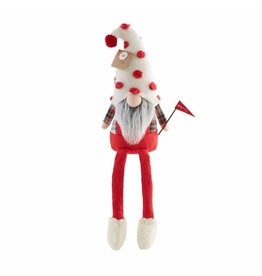Mud Pie Christmas Gnome With Dangling Legs Holding Merry Flag 9x4 Inch