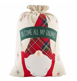 Mud Pie Christmas Gnome Gift Sack 32x22 Oh Come All My Gnomies