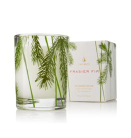 Frasier Fir Votive Candle Glass Pine Needle Design 2 Oz