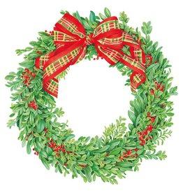 Caspari Christmas Placemats Boxwood N Berries Wreath Hardback Placemat