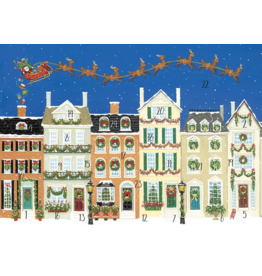 Caspari Christmas Advent Calendar Greeting Card Santa Delivering Gifts