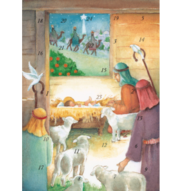 Caspari Christmas Advent Calendar Greeting Card Manger And Shepherds
