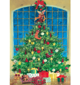 Caspari Christmas Advent Calendar Card Angel Atop Christmas Tree