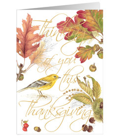 Caspari Thanksgiving Card Birds And Leaves Thinking Of You