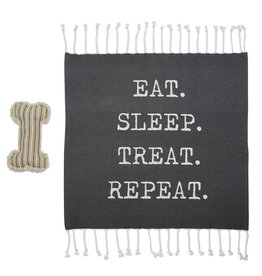 Mud Pie Dog Blanket And Toy Set - Eat Sleep Treat Repeat