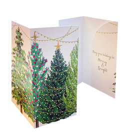 Caspari Christmas Money Cards 4pk Christmas Trees W Lights