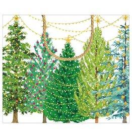 Caspari Christmas Gift Bag Large 11.75x4.75x10 Christmas Trees W Lights