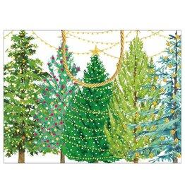 Caspari Christmas Gift Bag Small 7x3x5.25 Christmas Trees W Lights
