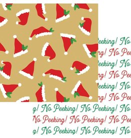 Caspari Christmas Gift Wrapping Paper 8ft Santa Hat Toss Reversible