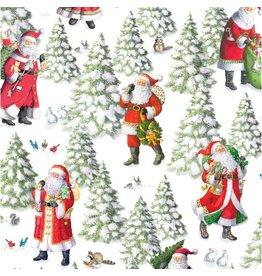 Caspari Christmas Gift Wrapping Paper 8ft Woodland Santa