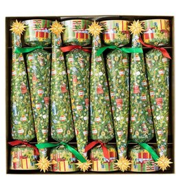 Caspari Christmas Celebration Crackers 8pk Musical Jamboree Tree Cone-Shaped