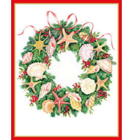 Caspari Shell Wreath Boxed Christmas Cards 16pk