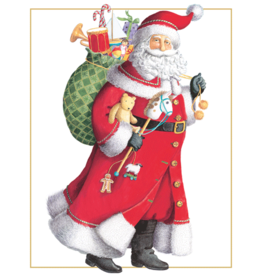 Caspari Santa With Toy Sack Boxed Christmas Cards 16pk