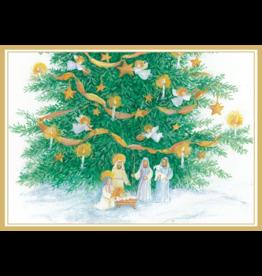 Caspari Nativity And Tree Boxed Christmas Cards 16pk