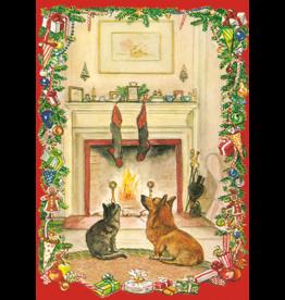 Caspari Cat And Corgi By Fireplace Boxed Christmas Cards 16pk