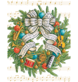Caspari Musical Wreath Boxed Christmas Cards 16pk