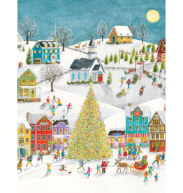Caspari Winter Village Scene Boxed Christmas Cards 16pk
