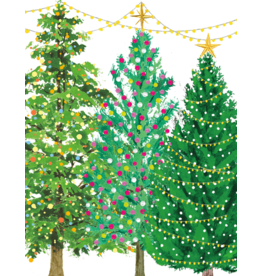 Caspari Christmas Trees With Lights Boxed Christmas Cards 16pk