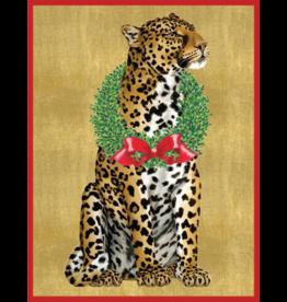 Caspari Leopard With Wreath Boxed Christmas Cards 16pk