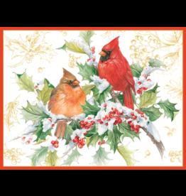 Caspari Cardinals And Holly Boxed Christmas Cards 16pk