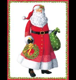 Caspari Santa With Wreath Boxed Christmas Cards 16pk