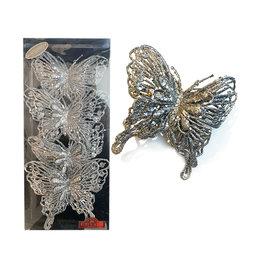 Kurt Adler Silver Glitter Butterfly Clip-On Ornaments 4pc Box Set