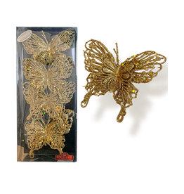 Kurt Adler Gold Glitter Butterfly Clip-On Ornaments 4pc Box Set