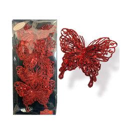Kurt Adler Red Glitter Butterfly Clip-On Ornaments 4pc Box Set