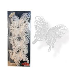 Kurt Adler White Glitter Butterfly Clip-On Ornaments 4pc Box Set