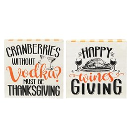 Darice Fall Thanksgiving Decor Signs 7x7 Inch 2 Assorted