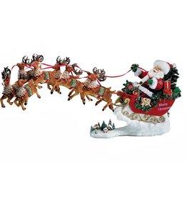 Kurt Adler Fabriche Musical Santa Sled 8 Reindeers Table Piece 2pc Set