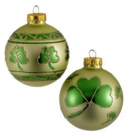 Kurt Adler Irish Shamrocks Glass Ball Ornaments 65mm Set of 4