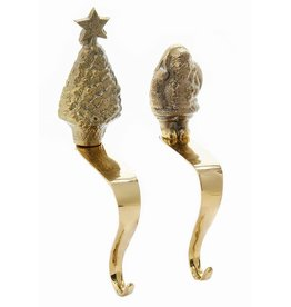 Kurt Adler Brass Christmas Stocking Holders Tree And Santa Hangers