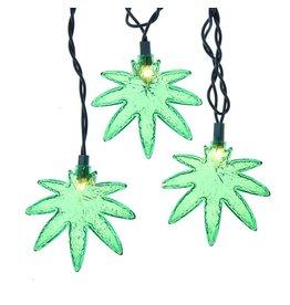 Kurt Adler Cannabis Leaf Novelty String Lights Set With 10 Pot Leaves